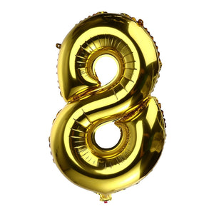 32 inch Thickened Helium Foil Balloons Birthday Number Balloons for Wedding Anniversary Decoration (Gold)