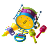 5Pcs Baby Kids Colorful Plastic Drum Bell Sand Hammer Musical Education Instrument Toy Set