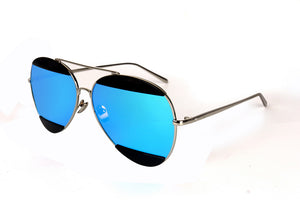 Metal Frame Double Color Flash Mirrored Aviator Womens Sunglasses SJ1032