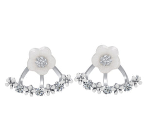 Crystal Studded Flower Ear Jacket Earrings