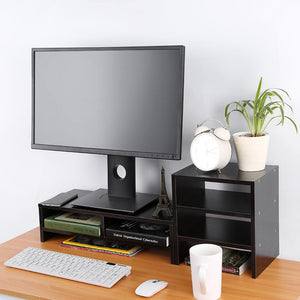 Computer Monitor Riser,Multifunctional Computer Laptop Monitor Riser Stand Desktop Wooden Storage Organizer + 3-Layer Shelf for Home Office use