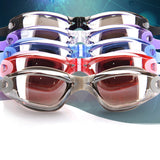 Swim Goggles, with Hat, Ear Plug, Nose Clip Suit Waterproof Swim Glasses Anti-fog