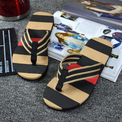 Men Summer Stripe Flip Flop Sandals