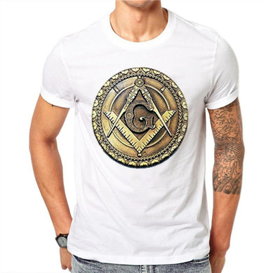 100% Cotton Freemasonry Badge Masonic G Design Summer Men T Shirts Fashion O-neck Short Sleeve Tops