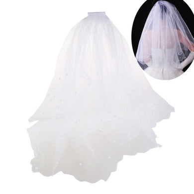 1M Long Double Layer Pearls Beaded Wedding Bridal Veil Mantilla with Comb (Beige)
