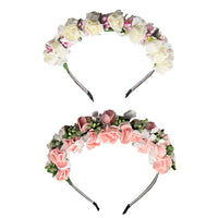 2Pcs Flower Hair Hoop Bride Hair Band Accessory for Wedding