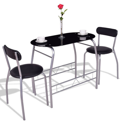 3 pcs Tempered Glass Dining Furniture Set