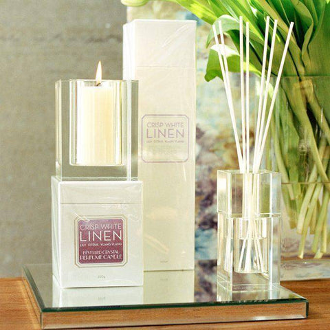 Crisp White Linen 140ml Bevelled Crystal Diffuser