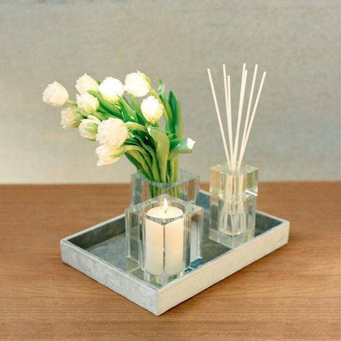 Image of Crisp White Linen 140ml Bevelled Crystal Diffuser