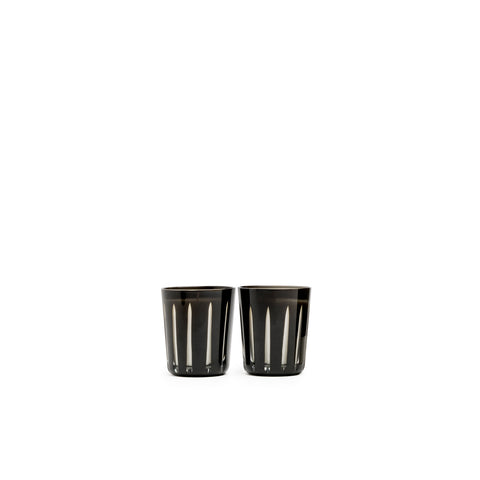 Image of Adagio Hand Cut black Glass Candle Twin Set - Soy Wax Blend