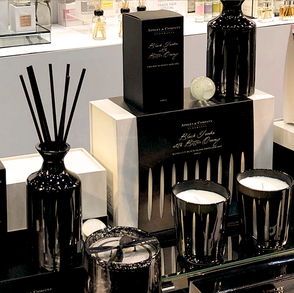 Adagio Hand Cut Black Glass Diffuser Set - Apsley Australia