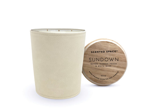 Image of Sundown 900g Leather candle - Apsley Australia