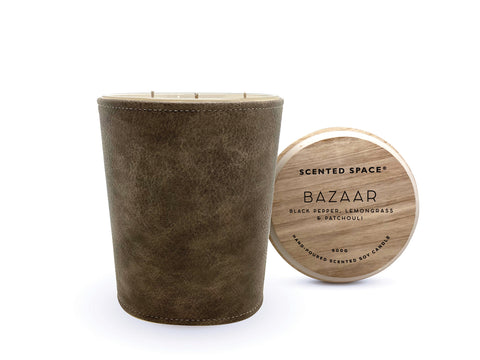 Image of Bazaar 900g Leather candle - Apsley Australia
