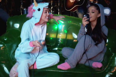 "Miley Cyrus (in our Blue Unicorn Onesie!) Covers ""Don't Dream It's Over"" with Ariana Grande"