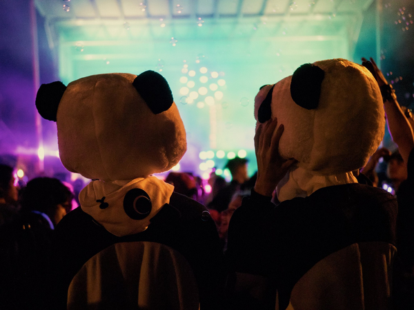 Two Otakubaloo attendees wearing Panda Kigurumi and Great Big Panda Head