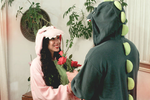 Pink Regular Green X-Tall Dinosaur Kigurumi Valentine's Day