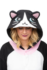 Black Cat Animal Kigurumi Adult Onesie Costume Pajamas Hood