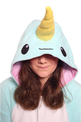 Blue Narwhal Animal Kigurumi Adult Onesie Costume Pajamas Hood