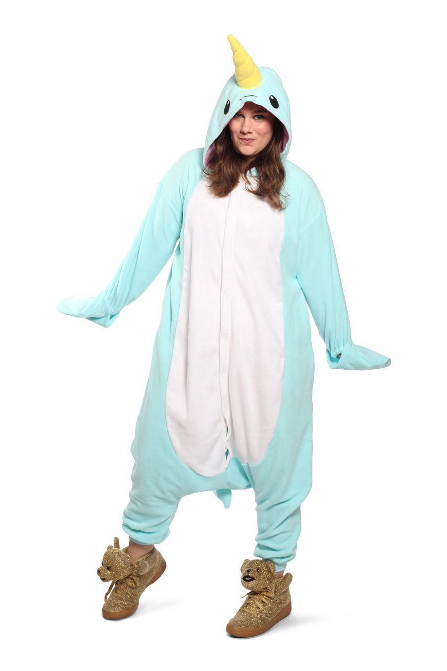 Blue Narwhal Animal Kigurumi Adult Onesie Costume Pajamas Main