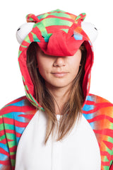 Chameleon Animal Kigurumi Adult Onesie Costume Pajamas Red Green Hood