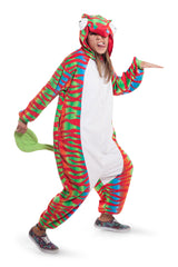 Chameleon Animal Kigurumi Adult Onesie Costume Pajamas Red Green Main