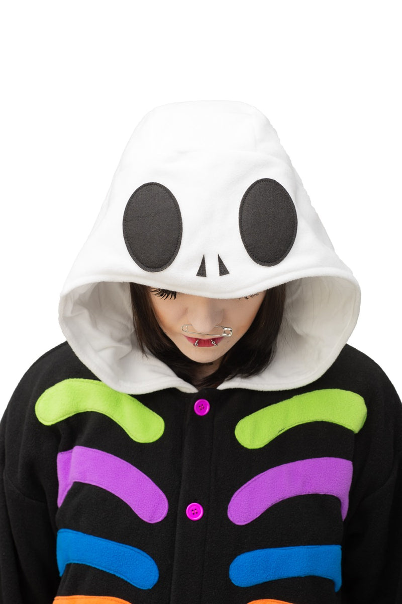 Colorful Skull Animal Kigurumi Adult Onesie Costume Pajamas Hood