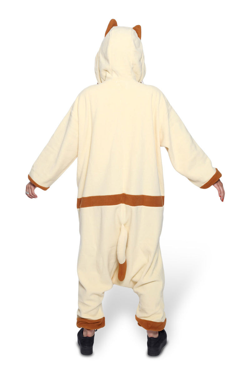 Felyne Character Kigurumi Adult Onesie Costume Pajamas Brown Back