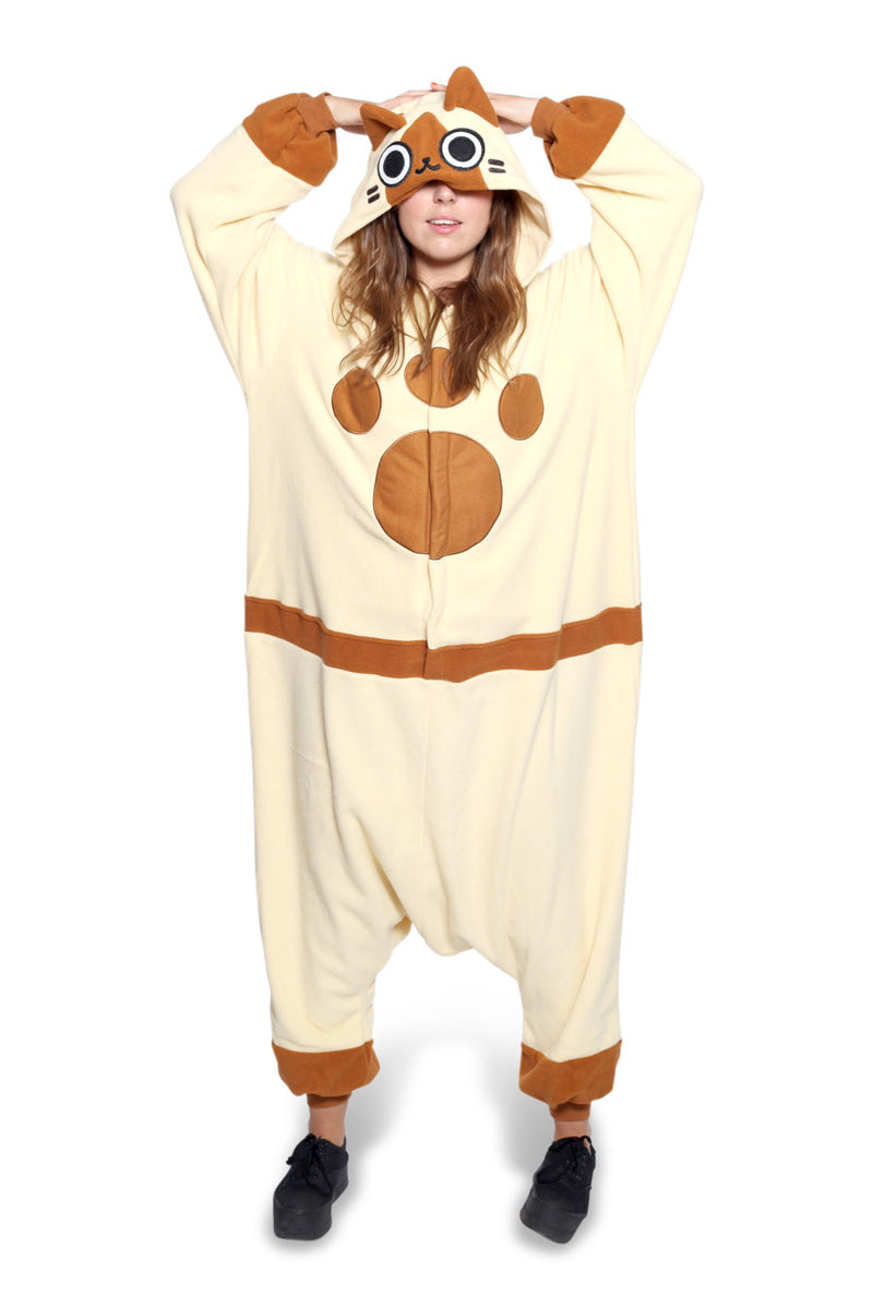 Felyne Character Kigurumi Adult Onesie Costume Pajamas Brown Secondary
