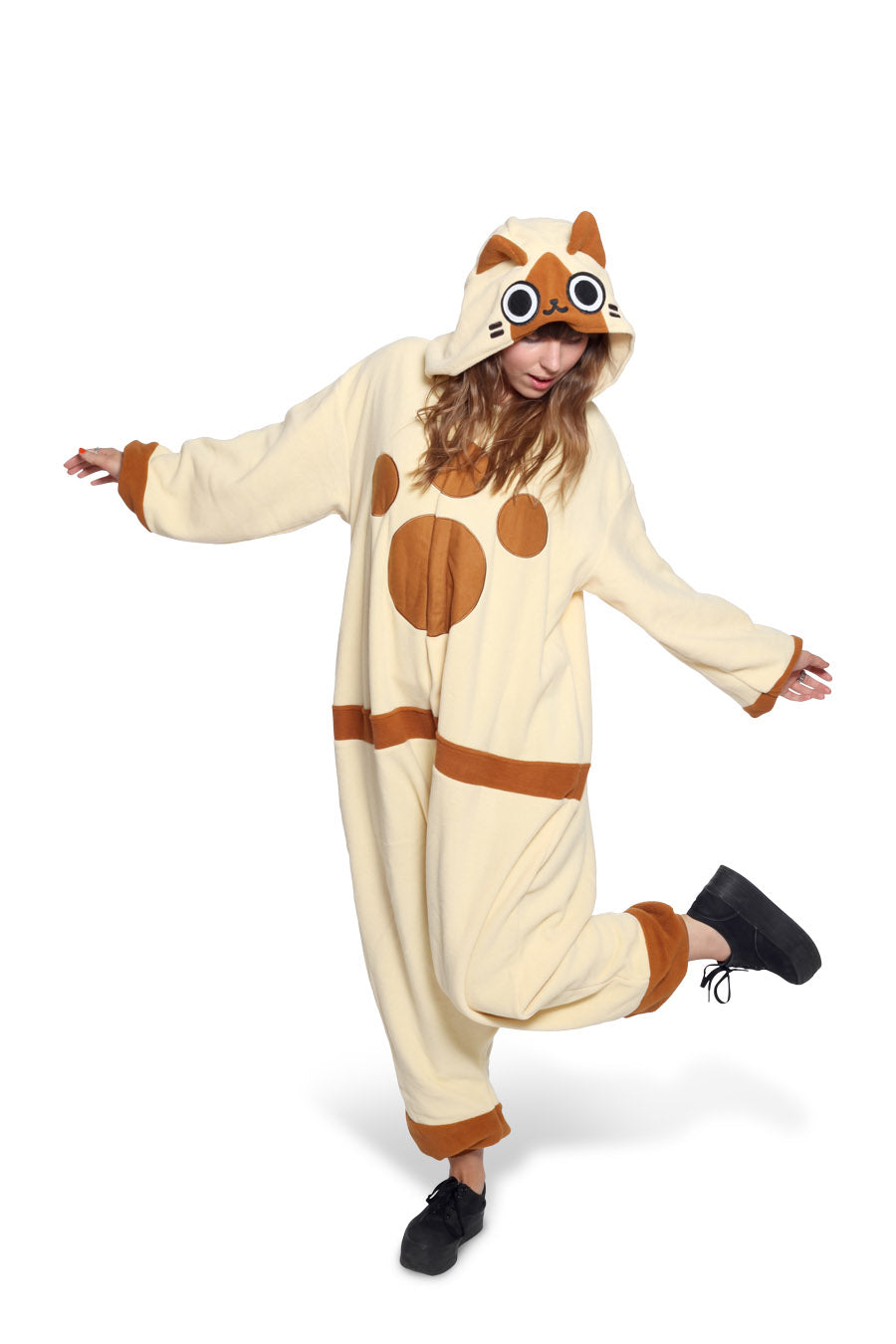 Felyne Character Kigurumi Adult Onesie Costume Pajamas Brown Main