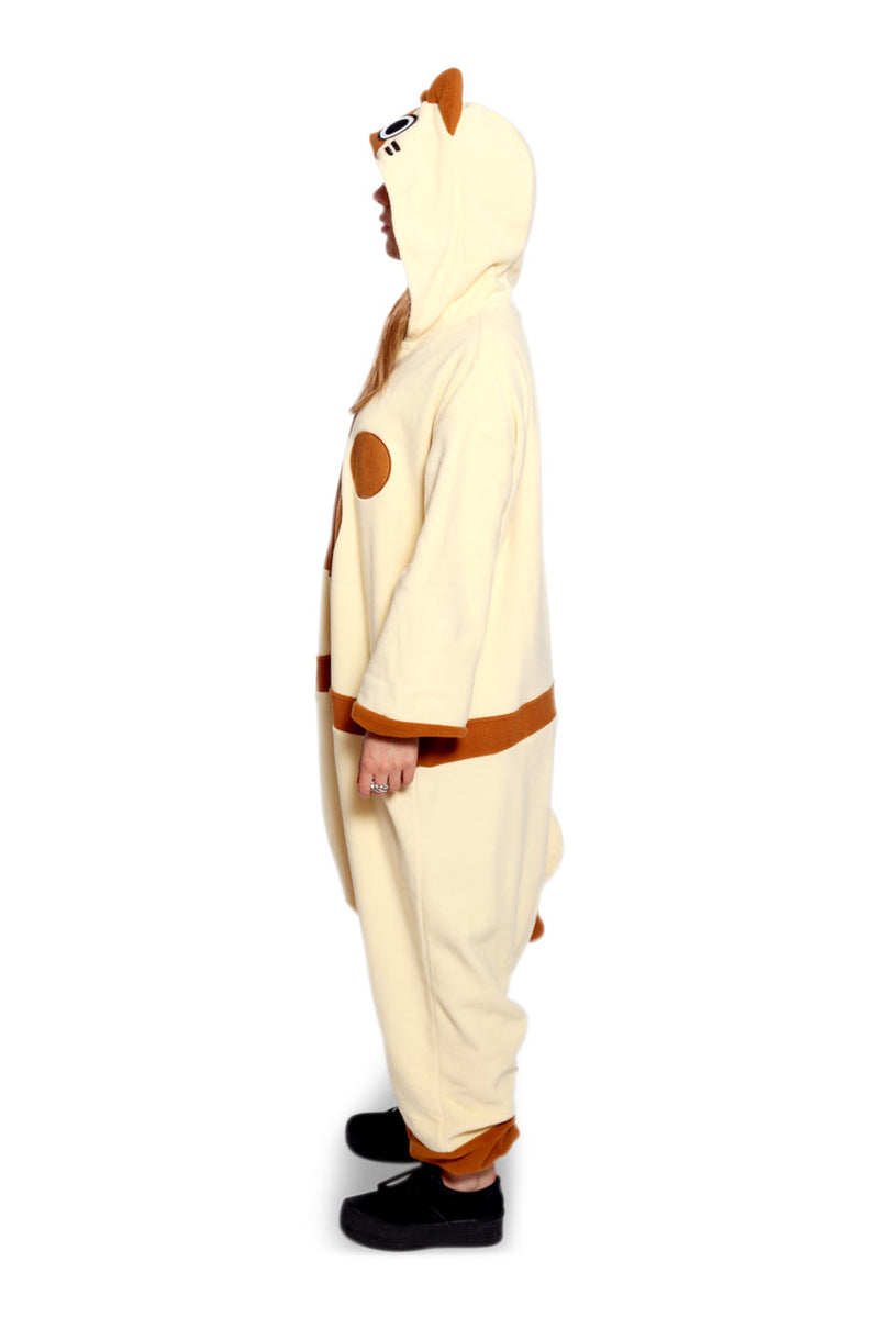 Felyne Character Kigurumi Adult Onesie Costume Pajamas Brown Side