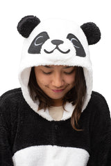 Fluffy Panda Animal Kigurumi Adult Onesie Costume Pajamas Hood