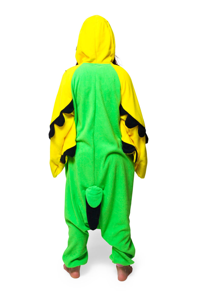 Green Budgie Animal Kigurumi Adult Onesie Costume Pajamas Back
