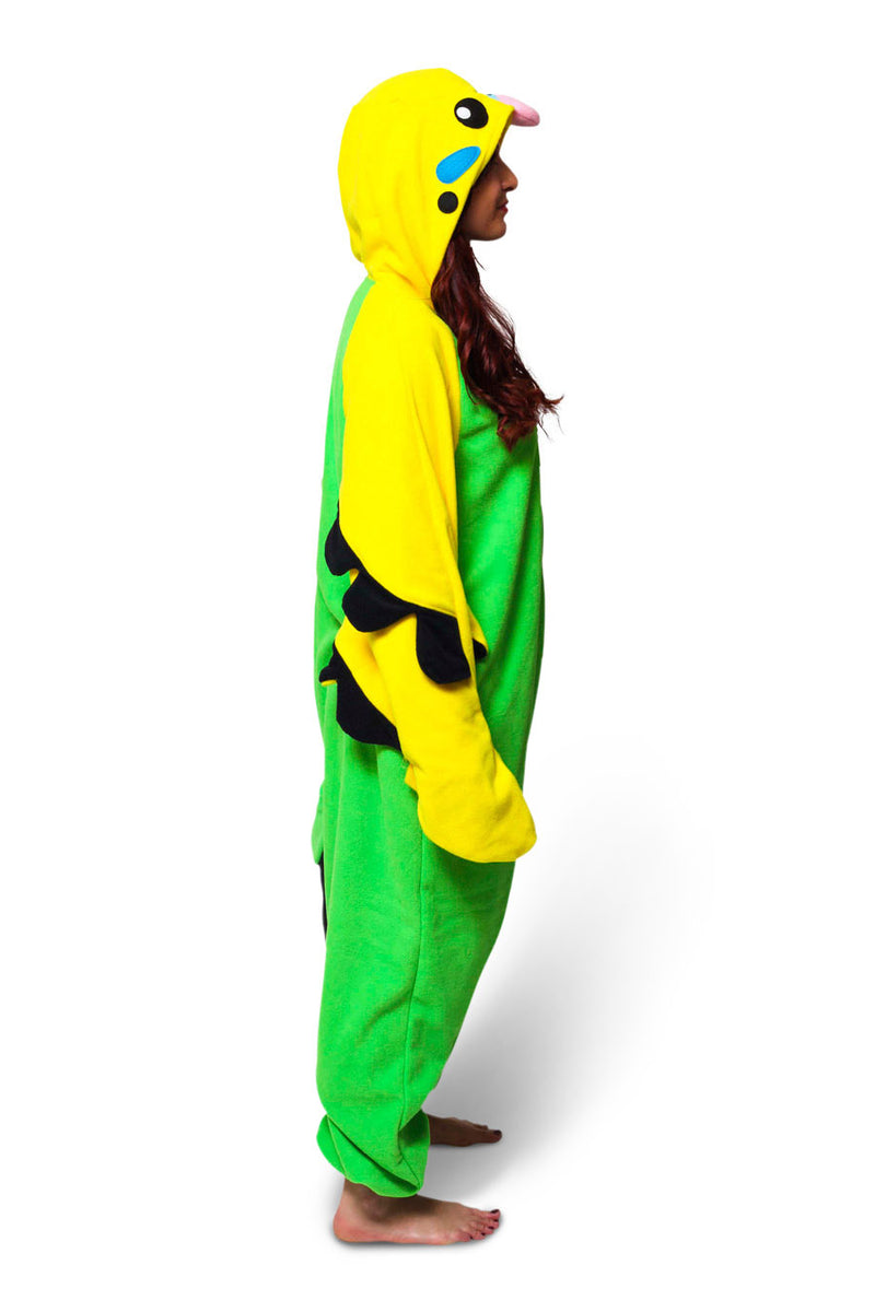 Green Budgie Animal Kigurumi Adult Onesie Costume Pajamas Side