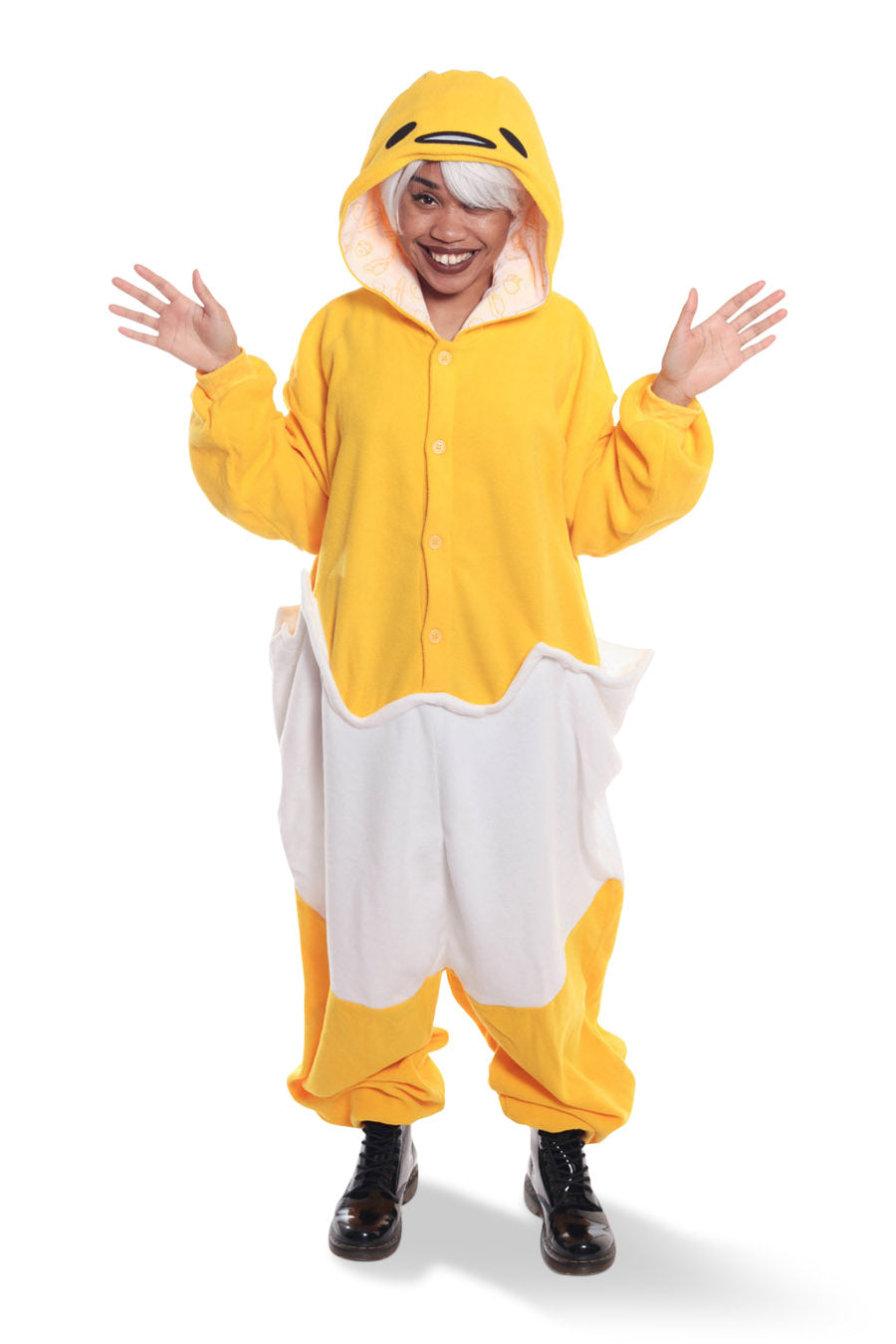 Gudetama Character Kigurumi Adult Onesie Costume Pajamas Yellow Egg White Main