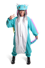 Huff the Teal Dragon Animal Kigurumi Adult Onesie Costume Pajamas Secondary