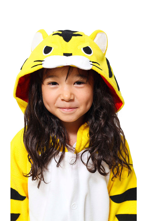 Kids Yellow Tiger Costume Onesie Kigurumi Pyjamas