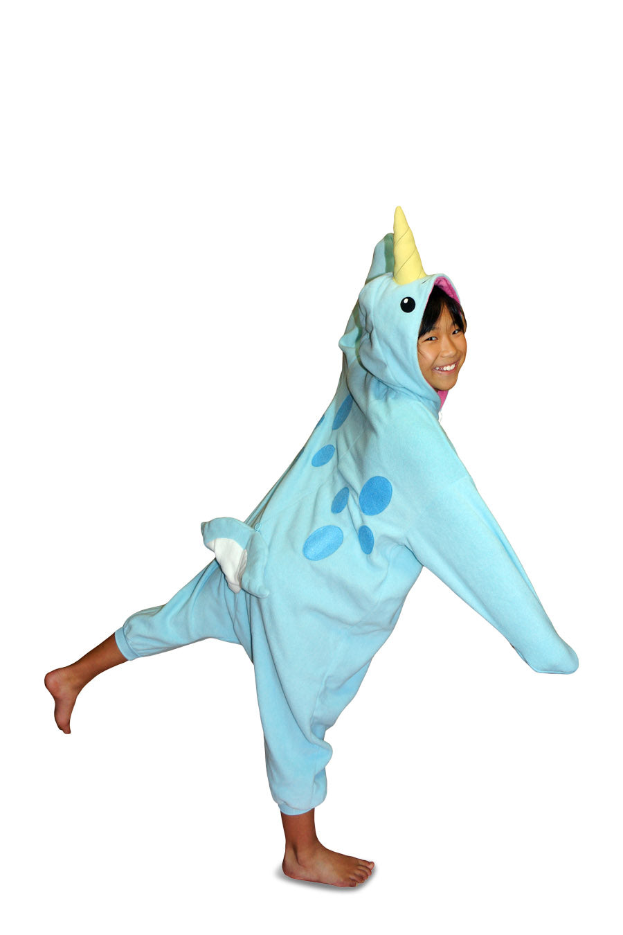 Kids Blue Narwhal Animal Kigurumi Onesie Costume Pajamas Main 130cm