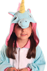 Kids Blue Unicorn Animal Kigurumi Onesie Costume Pajamas Hood 130cm