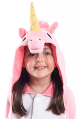 Kids Pink Unicorn Animal Kigurumi Onesie Costume Pajamas Hood 130cm
