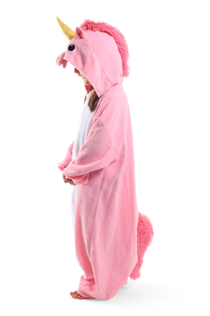 Kids Pink Unicorn Animal Kigurumi Onesie Costume Pajamas Side 130cm