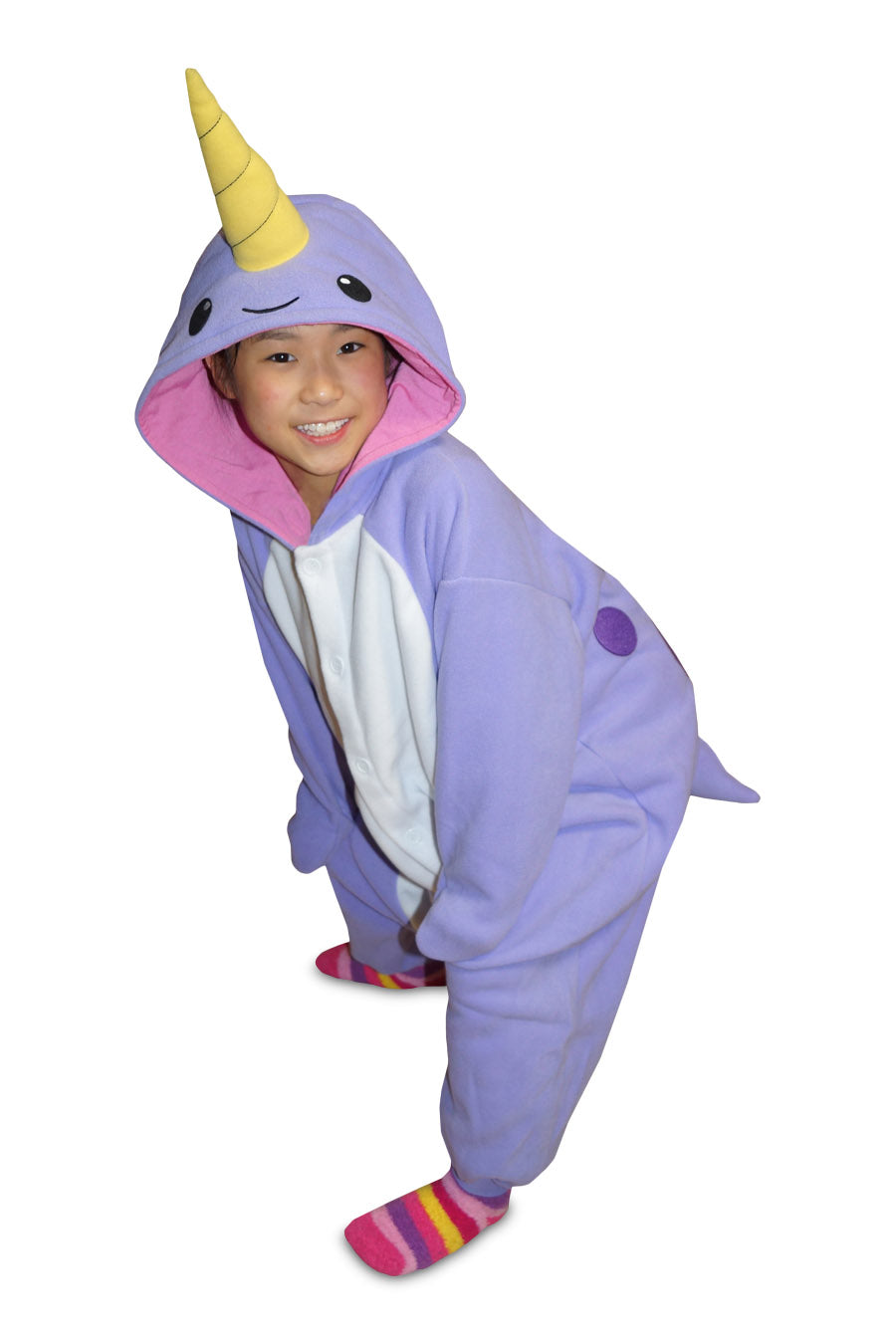 Kids Purple Narwhal Animal Kigurumi Onesie Costume Pajamas Main 130cm