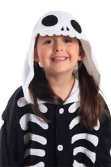 Kids Skeleton Animal Kigurumi Onesie Costume Pajamas Black White Hood 130cm