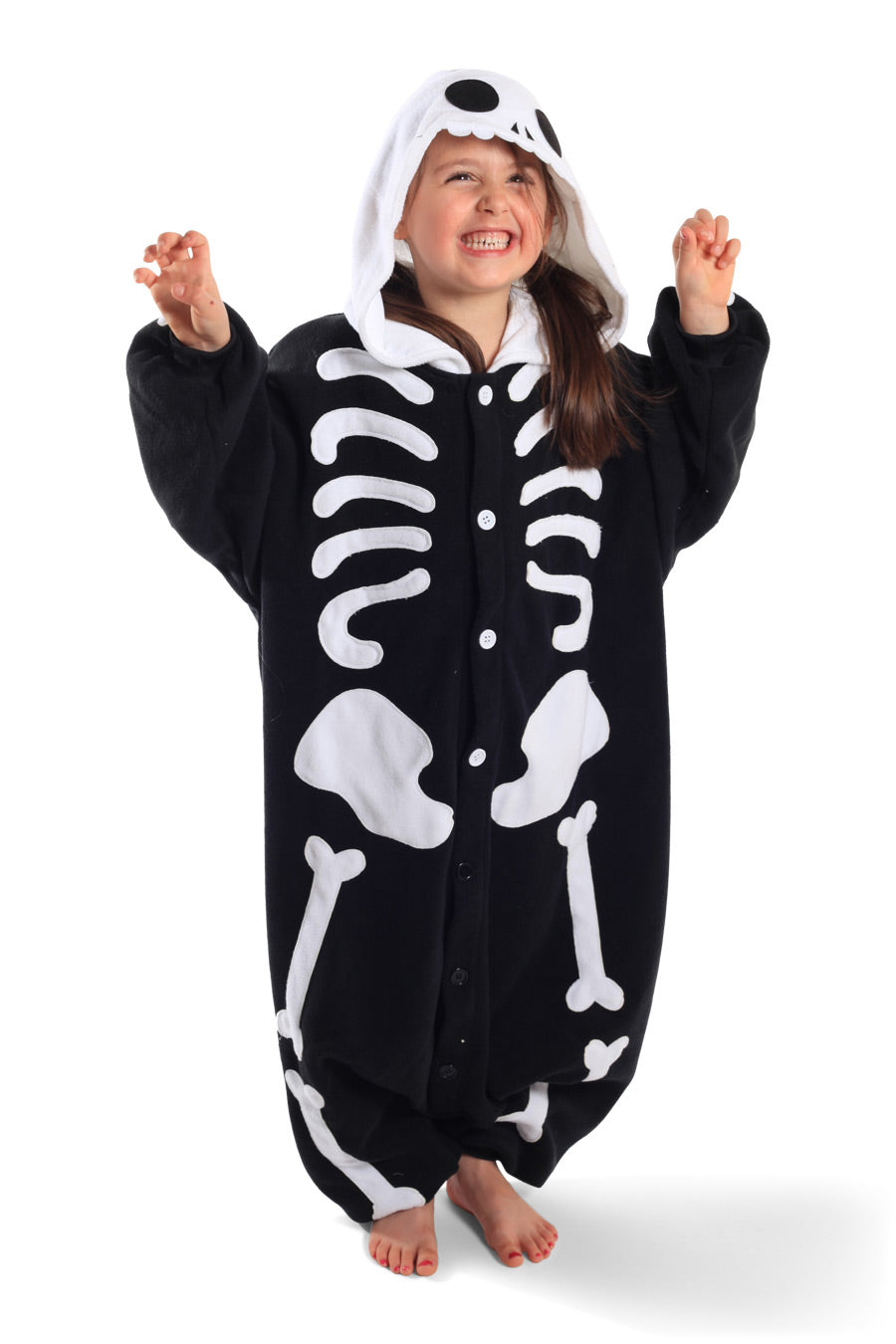 Kids Skeleton Animal Kigurumi Onesie Costume Pajamas Black White Main 130cm