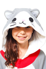Kids Tabby Cat Animal Kigurumi Onesie Costume Pajamas Hood 130cm
