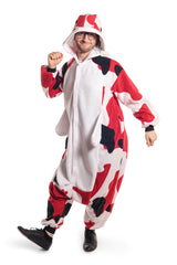Koi Fish Animal Kigurumi Adult Onesie Costume Pajamas White Red Black Front Tertiary