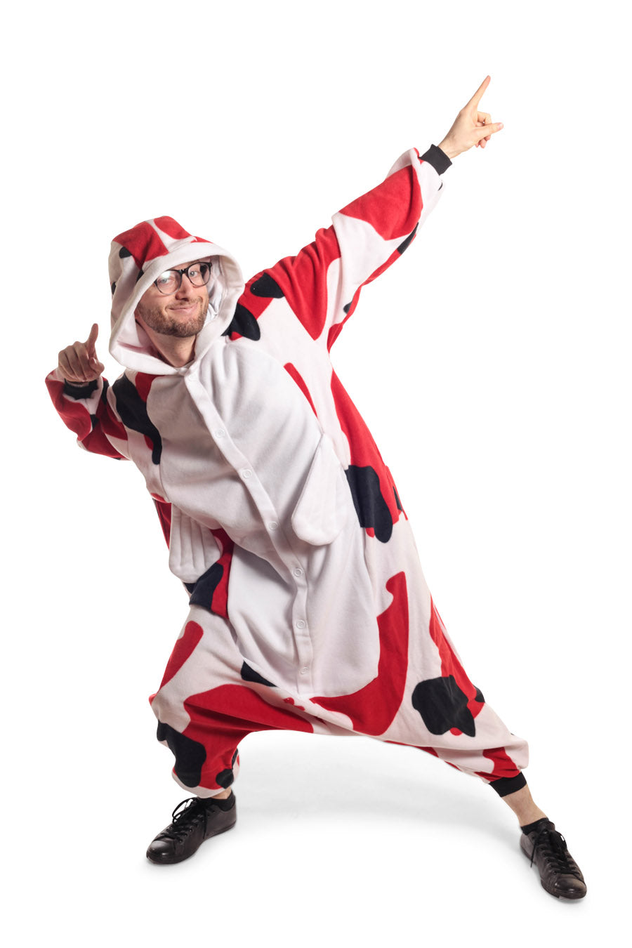 Koi Fish Animal Kigurumi Adult Onesie Costume Pajamas White Red Black Front Main
