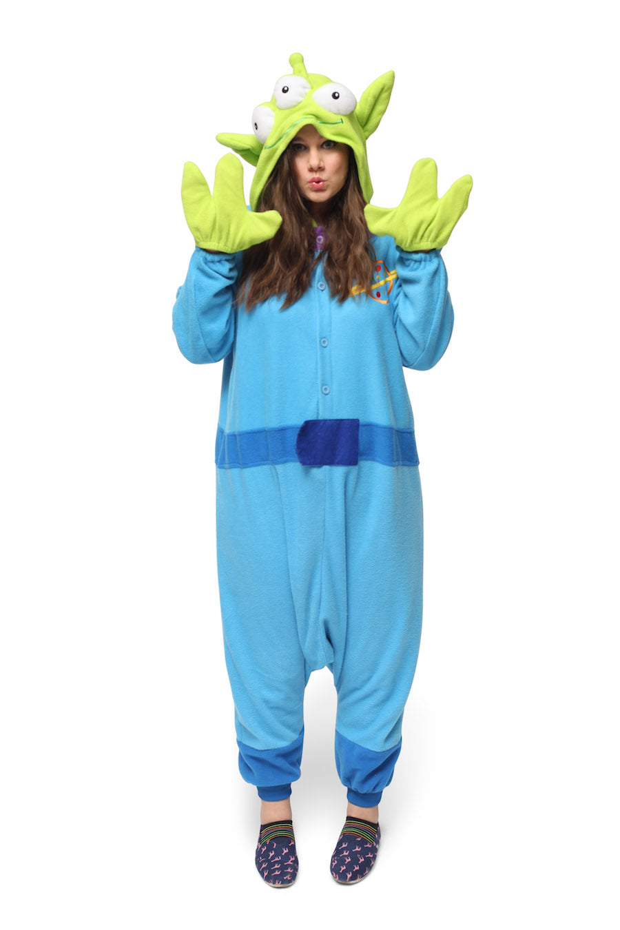 Little Green Man Character Kigurumi Adult Onesie Costume Pajamas Alien Blue Main