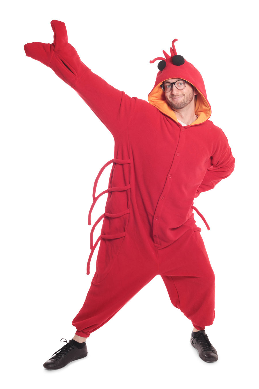 Lobster Animal Kigurumi Adult Onesie Costume Pajamas Red Front Main
