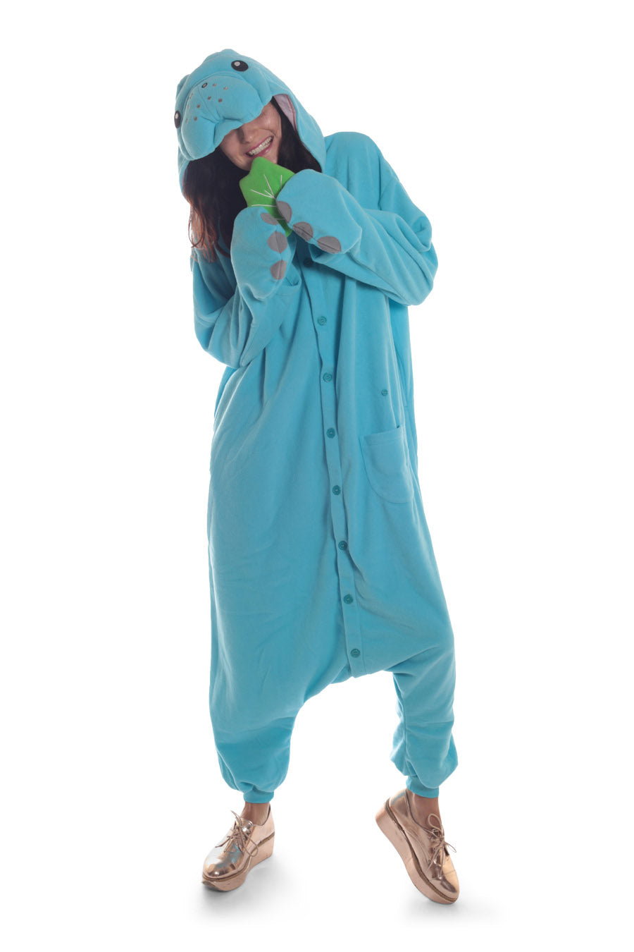 Manatee Animal Kigurumi Adult Onesie Costume Pajamas Blue Main