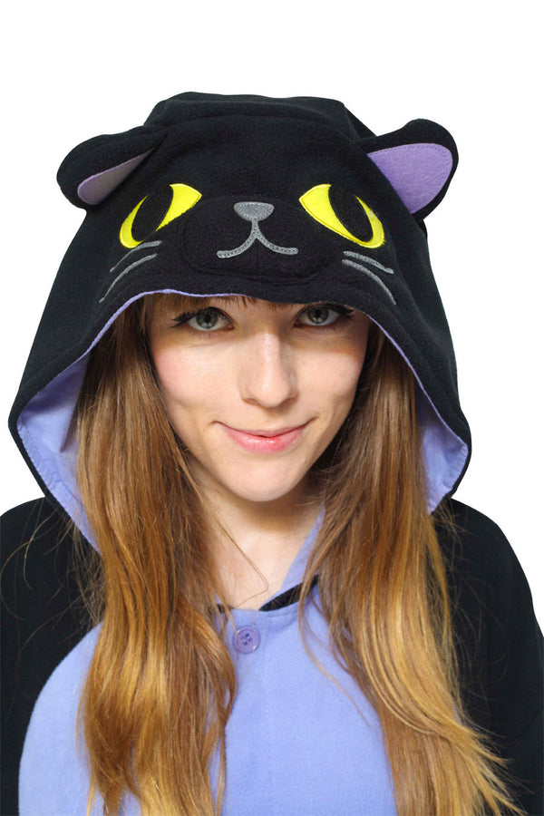 Midnight Cat Animal Kigurumi Adult Onesie Costume Pajamas Hood